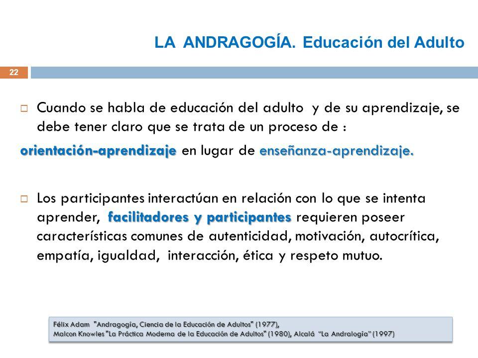 22 Cuando se habla de educación del adulto y de su aprendizaje, se debe tener claro que se trata de un proceso de : orientación-aprendizaje enseñanza-aprendizaje.