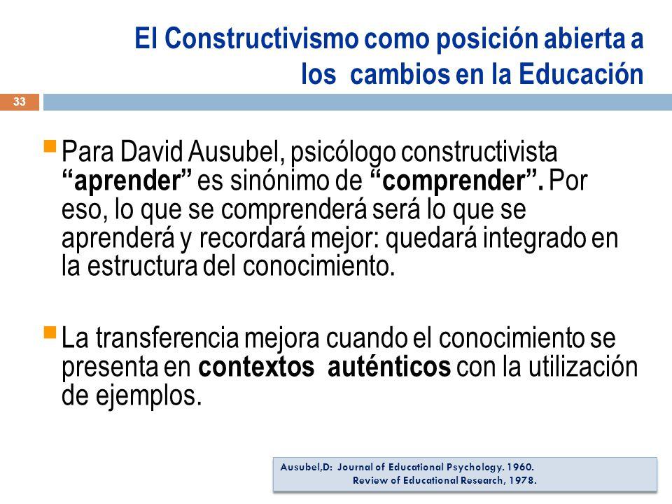 Para David Ausubel, psicólogo constructivista aprender es sinónimo de comprender.