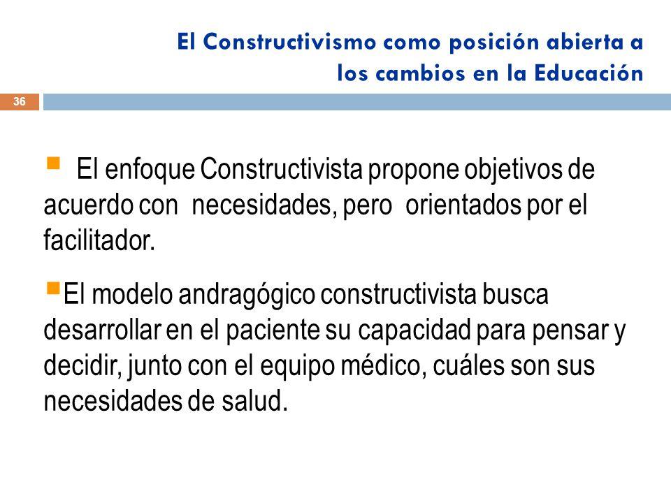 El enfoque Constructivista propone objetivos de acuerdo con necesidades, pero orientados por el facilitador.