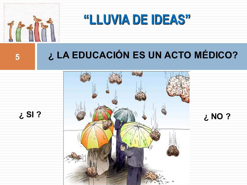 LLUVIA DE IDEAS 5 ¿ LA EDUCACIÓN ES UN ACTO MÉDICO? ¿ SI ? ¿ NO ?