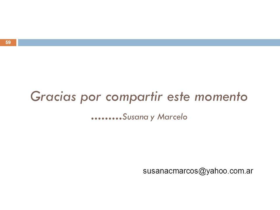 Gracias por compartir este momento......... Susana y Marcelo 59 susanacmarcos@yahoo.com.ar