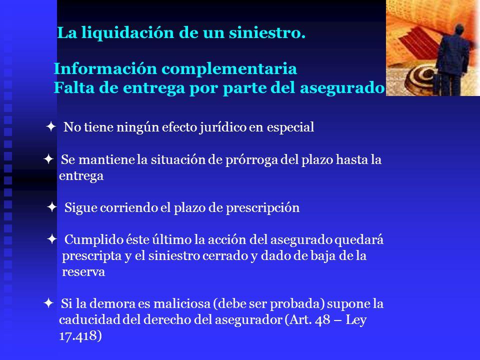 Información complementaria Falta de entrega por parte del asegurado No tiene ningún efecto jurídico en especial Se mantiene la situación de prórroga d