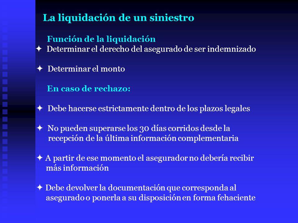 Función de la liquidación Determinar el derecho del asegurado de ser indemnizado Determinar el monto En caso de rechazo: Debe hacerse estrictamente de
