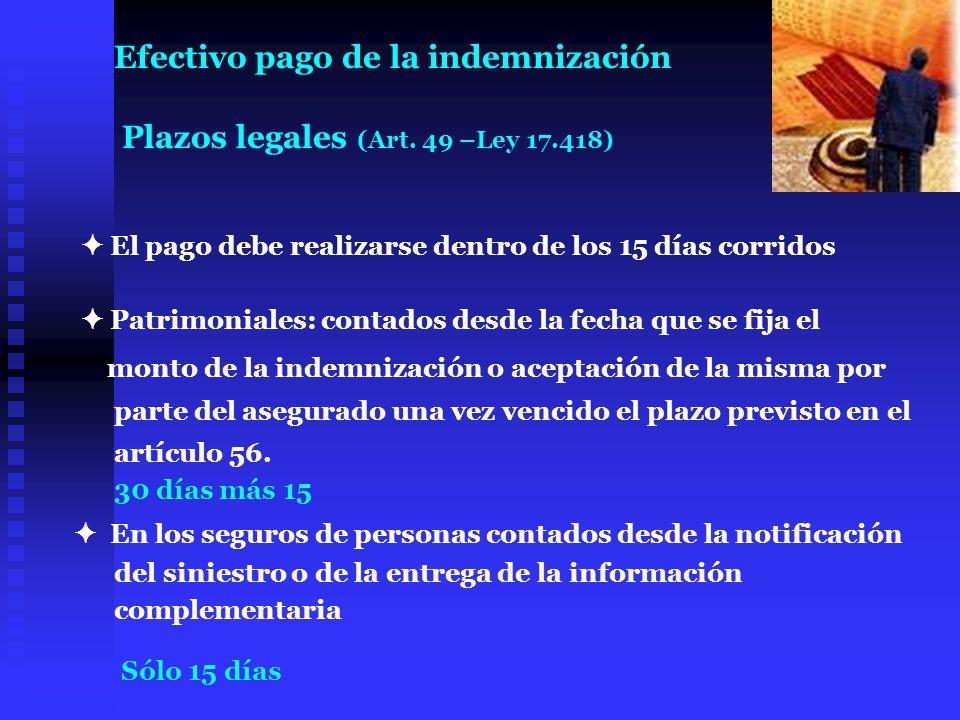El pago debe realizarse dentro de los 15 días corridos Patrimoniales: contados desde la fecha que se fija el monto de la indemnización o aceptación de