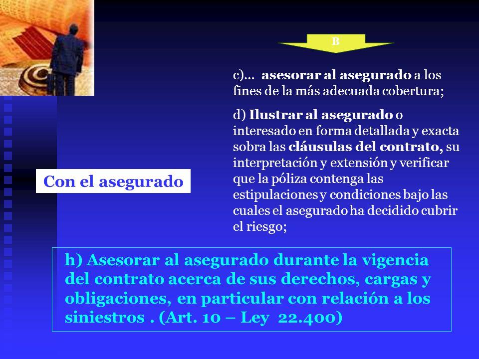 Con el asegurado c)… asesorar al asegurado a los fines de la más adecuada cobertura; d) Ilustrar al asegurado o interesado en forma detallada y exacta