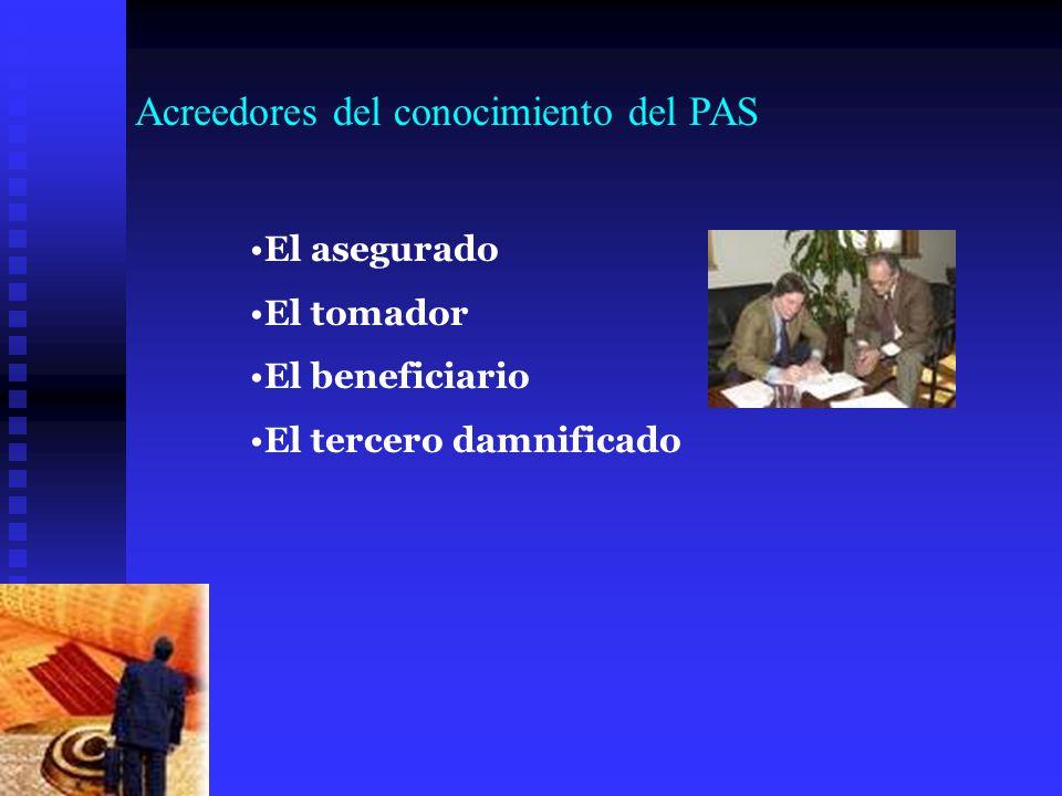 Acreedores del conocimiento del PAS El asegurado El tomador El beneficiario El tercero damnificado