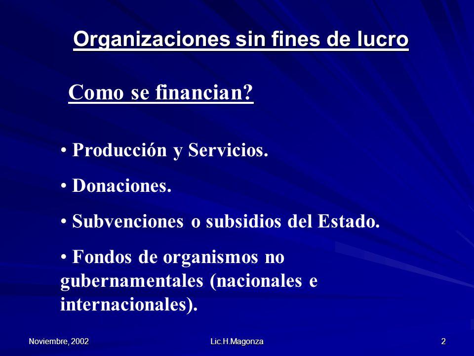 Noviembre, 2002 Lic.H.Magonza 2 Organizaciones sin fines de lucro Como se financian? Producción y Servicios. Donaciones. Subvenciones o subsidios del