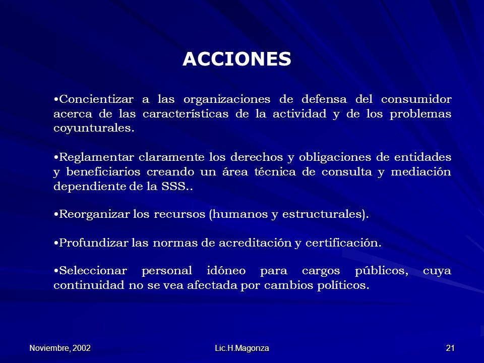 Noviembre, 2002 Lic.H.Magonza 21 Concientizar a las organizaciones de defensa del consumidor acerca de las características de la actividad y de los pr