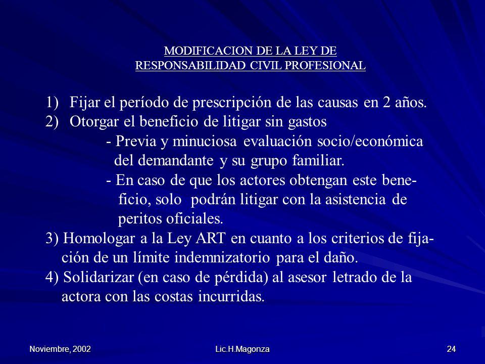 Noviembre, 2002 Lic.H.Magonza 24 MODIFICACION DE LA LEY DE RESPONSABILIDAD CIVIL PROFESIONAL 1)Fijar el período de prescripción de las causas en 2 año