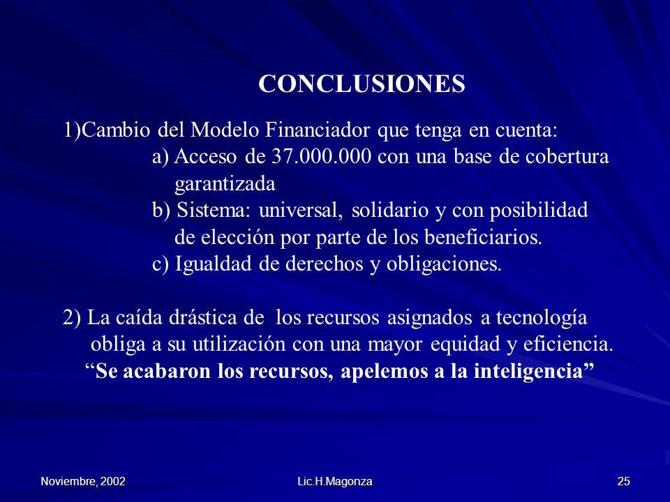 Noviembre, 2002 Lic.H.Magonza 25 CONCLUSIONES 1)Cambio del Modelo Financiador que tenga en cuenta: a) Acceso de 37.000.000 con una base de cobertura g