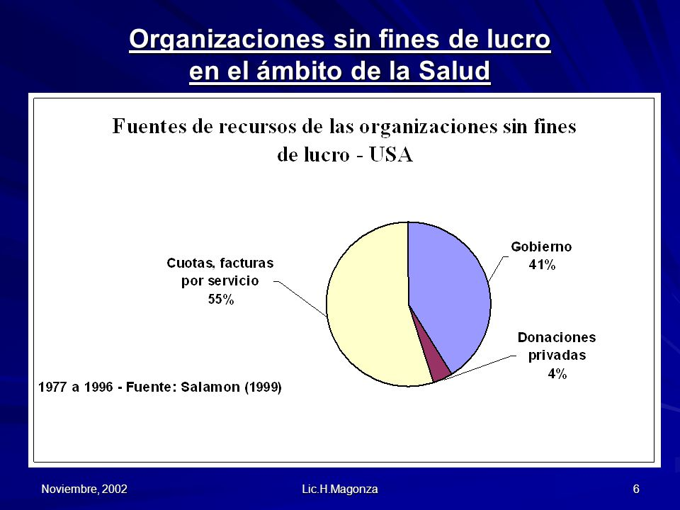 Noviembre, 2002 Lic.H.Magonza 6 Organizaciones sin fines de lucro en el ámbito de la Salud