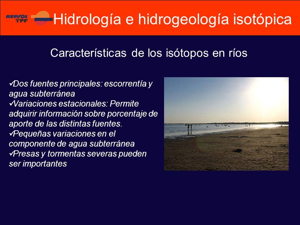 Características de los isótopos en ríos Dos fuentes principales: escorrentía y agua subterránea Variaciones estacionales: Permite adquirir información