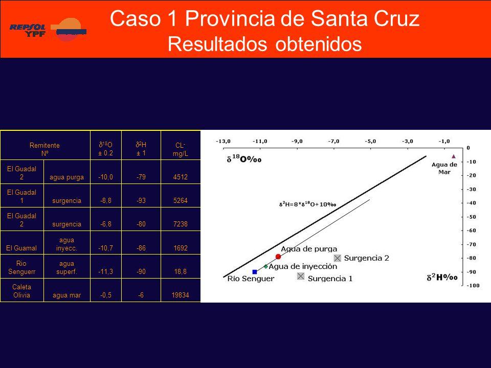 Remitente Nº 18 O ± 0.2 2 H ± 1 CL - mg/L El Guadal 2agua purga-10,0-794512 El Guadal 1surgencia-8,8-935264 El Guadal 2surgencia-6,8-807238 El Guamal agua inyecc.-10,7-861692 Rio Senguerr agua superf.-11,3-9018,8 Caleta Oliviaagua mar-0,5-619834 Caso 1 Provincia de Santa Cruz Resultados obtenidos