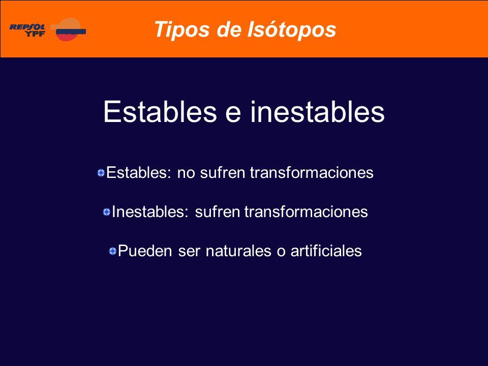 Tipos de Isótopos Estables e inestables Estables: no sufren transformaciones Inestables: sufren transformaciones Pueden ser naturales o artificiales