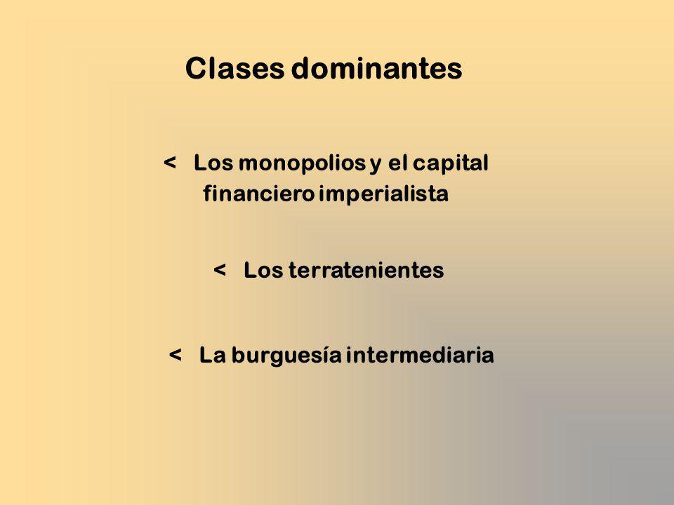 < Los monopolios y el capital financiero imperialista Clases dominantes < La burguesía intermediaria < Los terratenientes