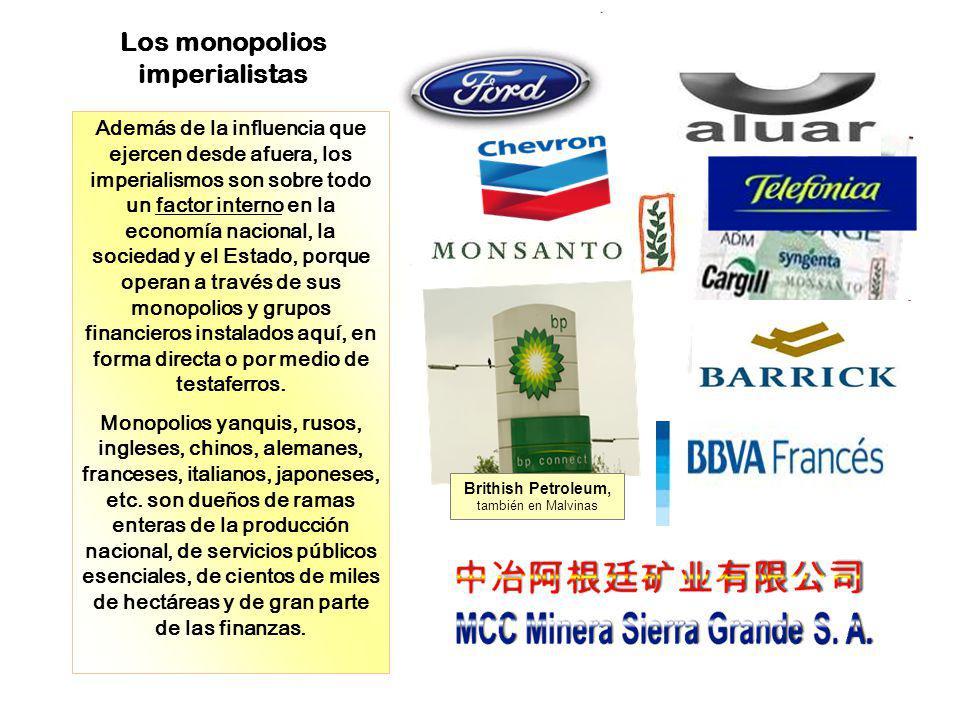 Los monopolios imperialistas Además de la influencia que ejercen desde afuera, los imperialismos son sobre todo un factor interno en la economía nacio