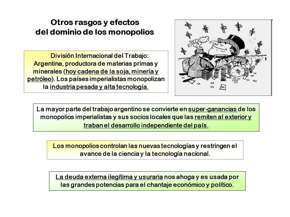 Otros rasgos y efectos del dominio de los monopolios La mayor parte del trabajo argentino se convierte en super-ganancias de los monopolios imperialis