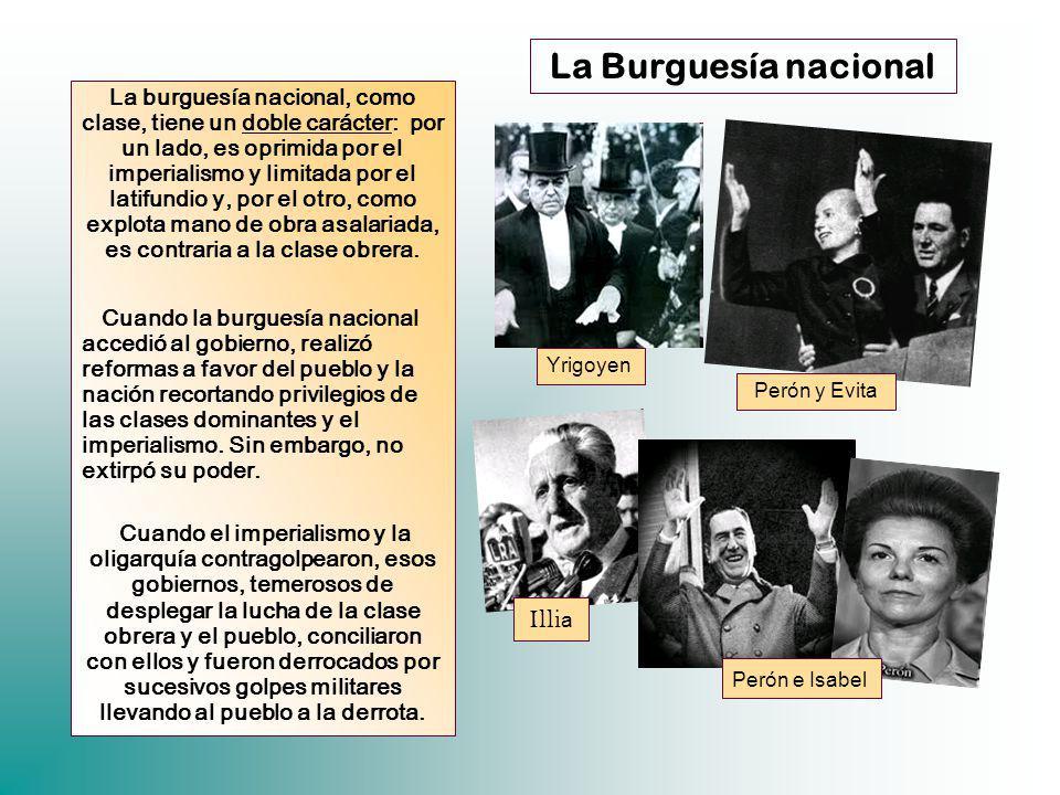 La Burguesía nacional La burguesía nacional, como clase, tiene un doble carácter: por un lado, es oprimida por el imperialismo y limitada por el latif