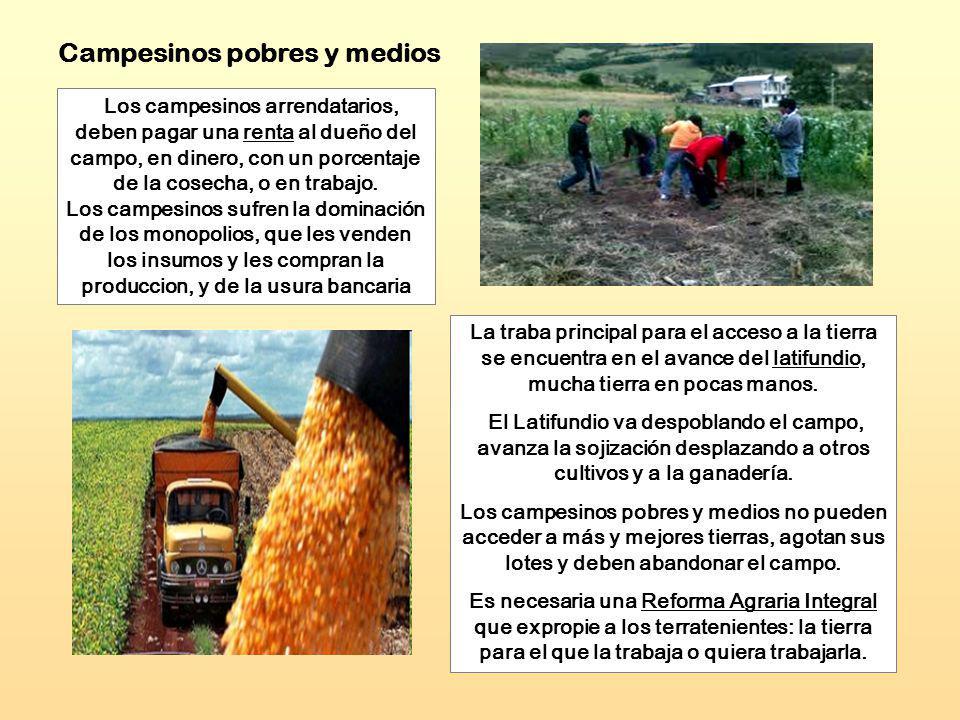 Los campesinos arrendatarios, deben pagar una renta al dueño del campo, en dinero, con un porcentaje de la cosecha, o en trabajo. Los campesinos sufre