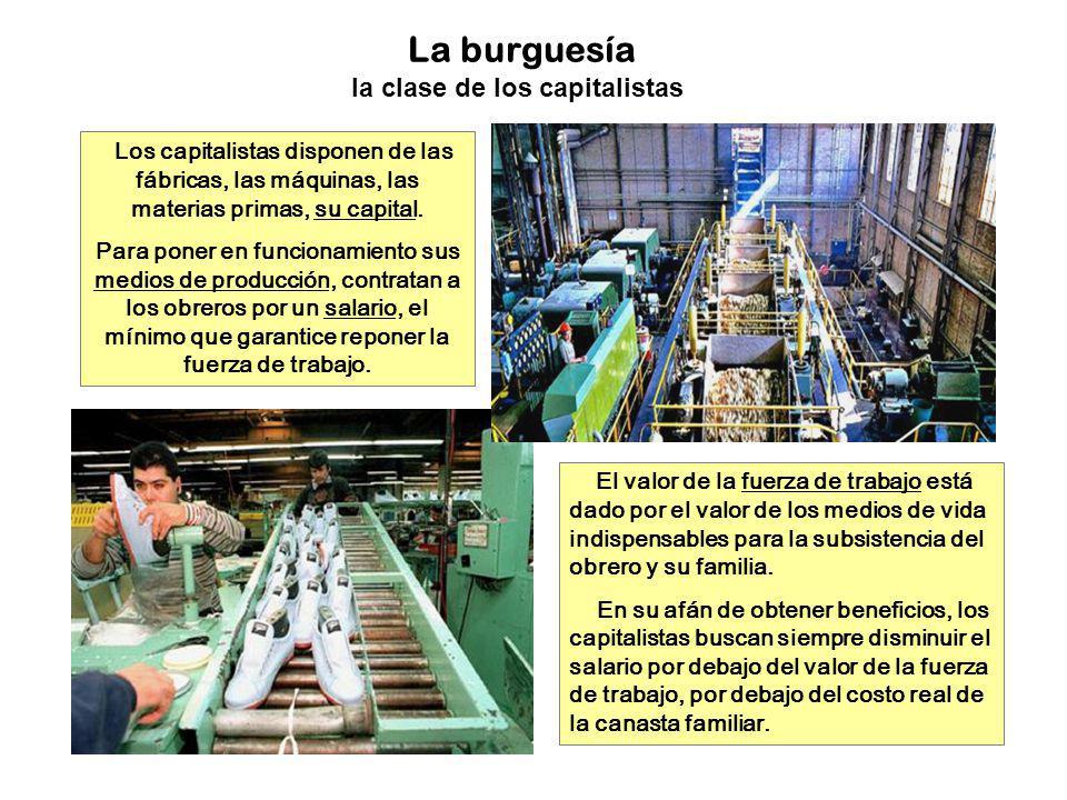 La burguesía la clase de los capitalistas Los capitalistas disponen de las fábricas, las máquinas, las materias primas, su capital. Para poner en func