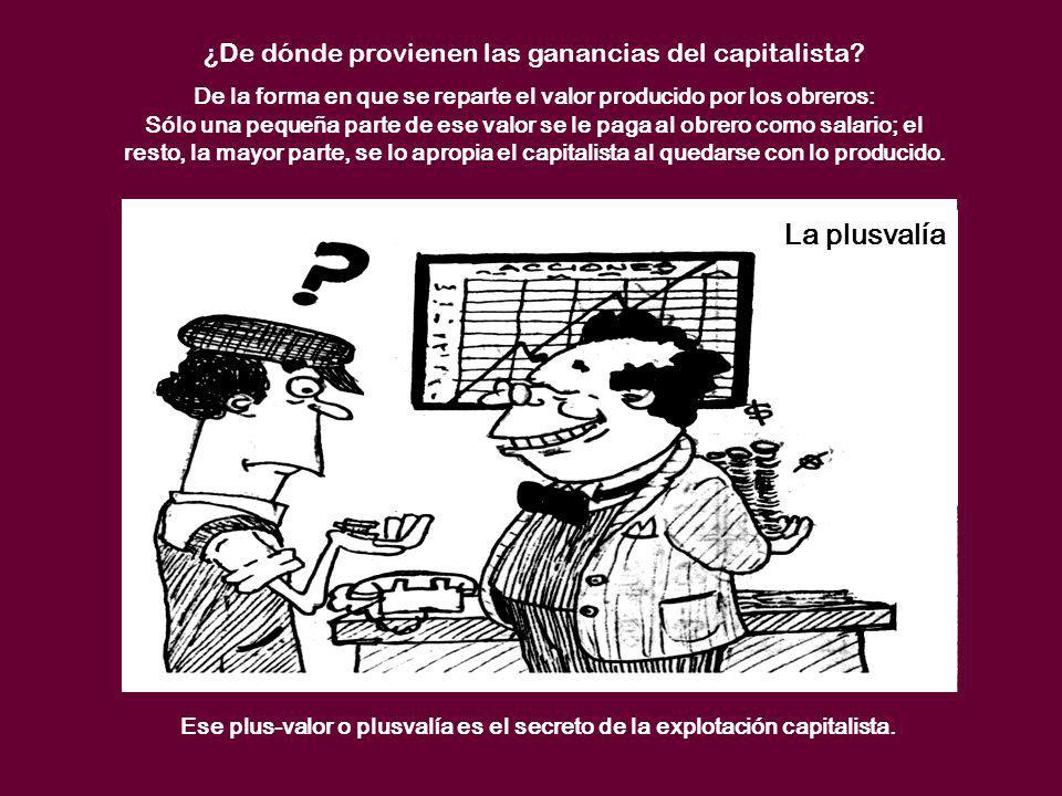 La plusvalía ¿De dónde provienen las ganancias del capitalista? De la forma en que se reparte el valor producido por los obreros: Sólo una pequeña par