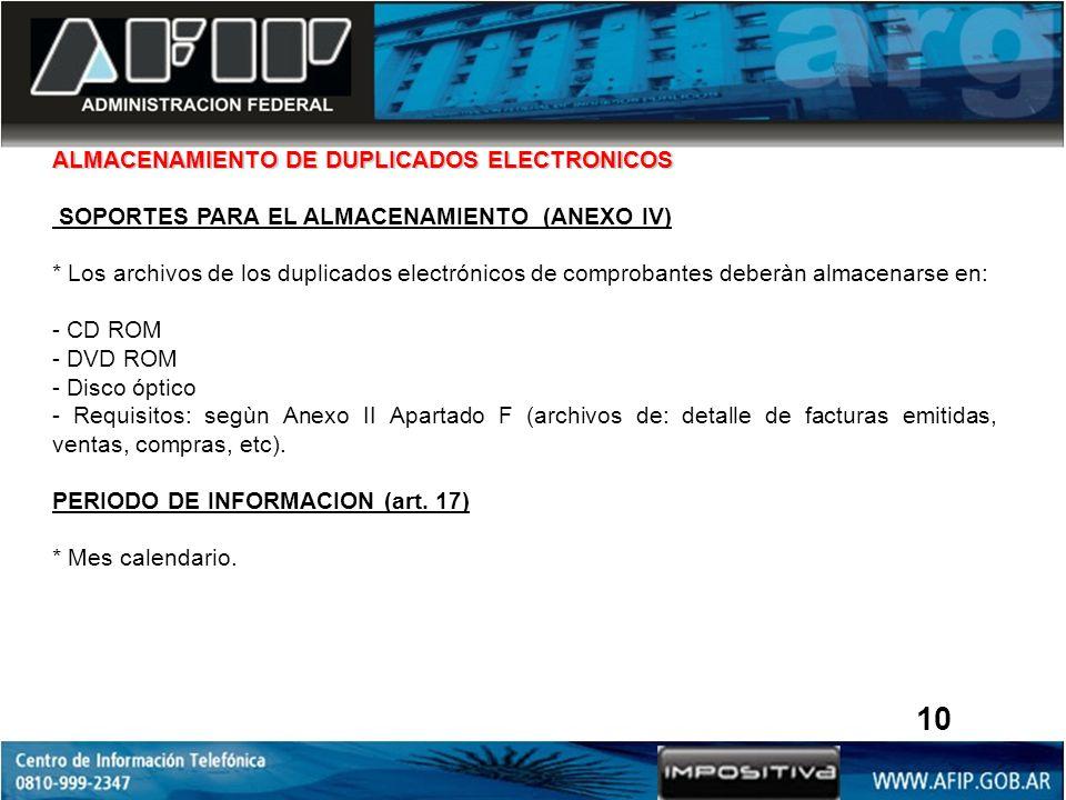 ALMACENAMIENTO DE DUPLICADOS ELECTRONICOS SOPORTES PARA EL ALMACENAMIENTO (ANEXO IV) * Los archivos de los duplicados electrónicos de comprobantes deb