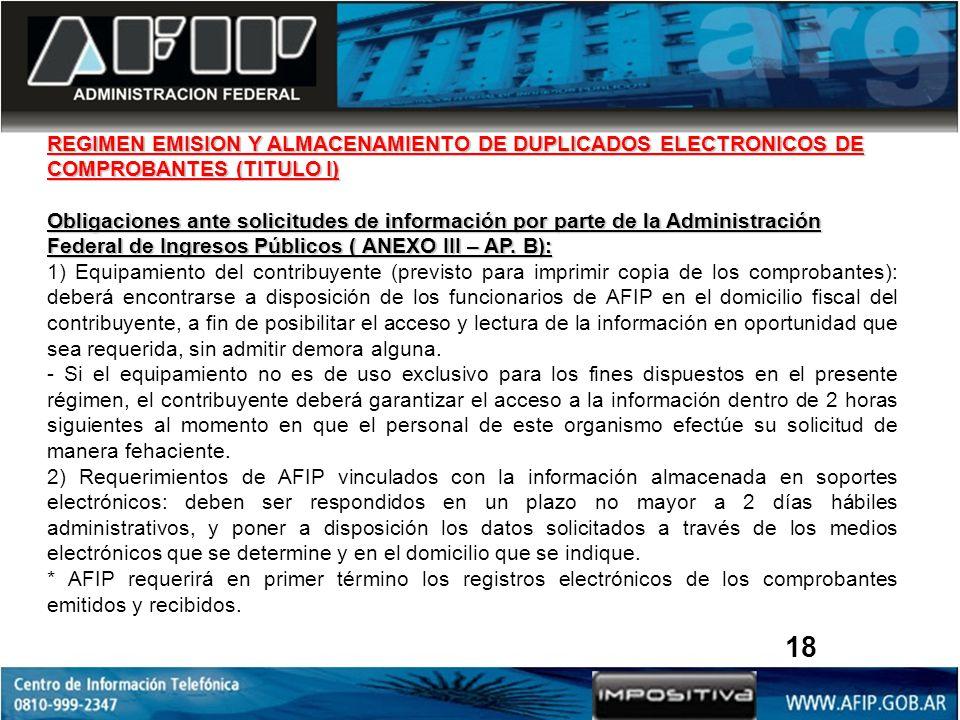 REGIMEN EMISION Y ALMACENAMIENTO DE DUPLICADOS ELECTRONICOS DE COMPROBANTES (TITULO I) Obligaciones ante solicitudes de información por parte de la Administración Federal de Ingresos Públicos ( ANEXO III – AP.