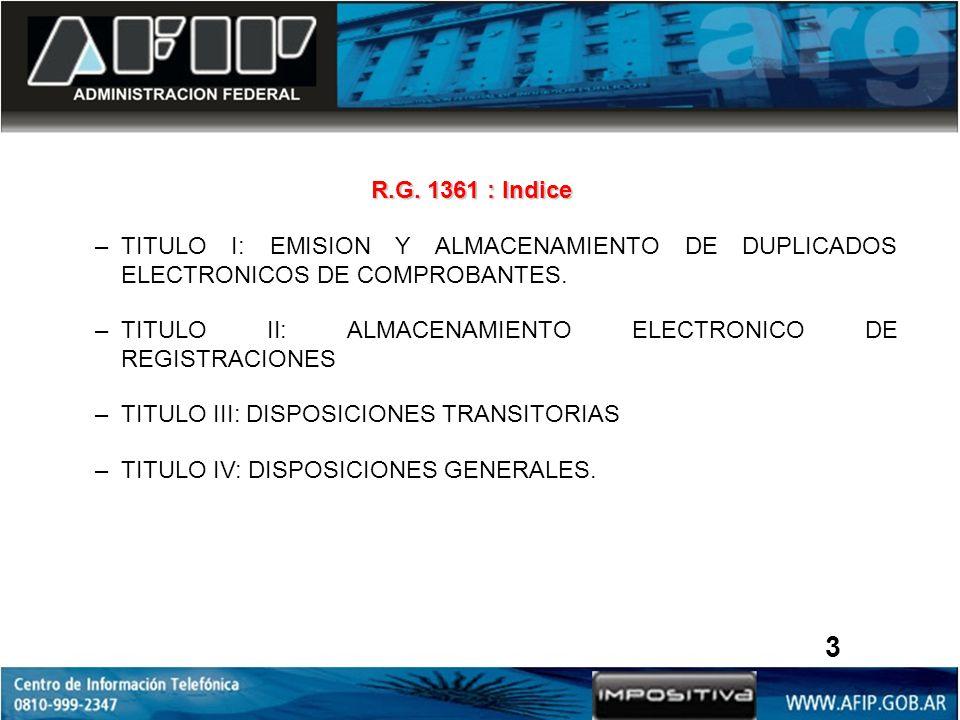 R.G. 1361 : Indice –TITULO I: EMISION Y ALMACENAMIENTO DE DUPLICADOS ELECTRONICOS DE COMPROBANTES. –TITULO II: ALMACENAMIENTO ELECTRONICO DE REGISTRAC