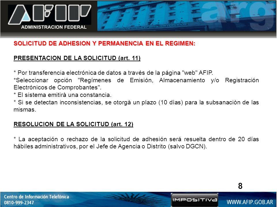SOLICITUD DE ADHESION Y PERMANENCIA EN EL REGIMEN: PRESENTACION DE LA SOLICITUD (art.