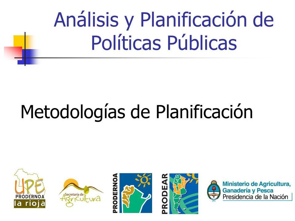 Análisis y Planificación de Políticas Públicas Metodologías de Planificación