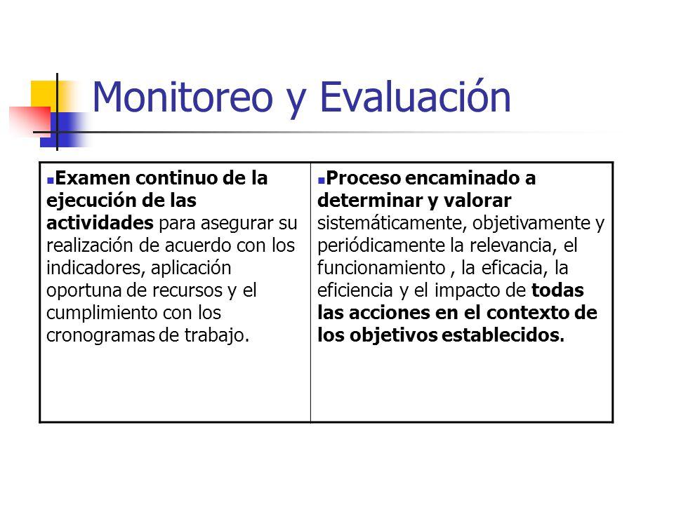 Monitoreo y Evaluación Examen continuo de la ejecución de las actividades para asegurar su realización de acuerdo con los indicadores, aplicación oportuna de recursos y el cumplimiento con los cronogramas de trabajo.