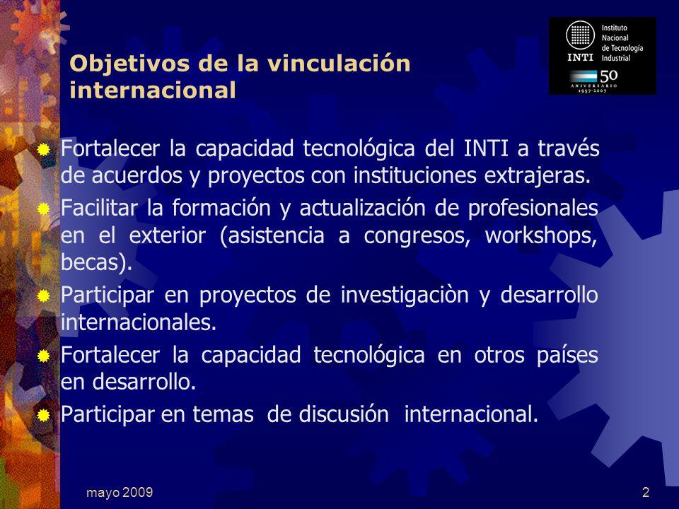 mayo 20092 Fortalecer la capacidad tecnológica del INTI a través de acuerdos y proyectos con instituciones extrajeras.