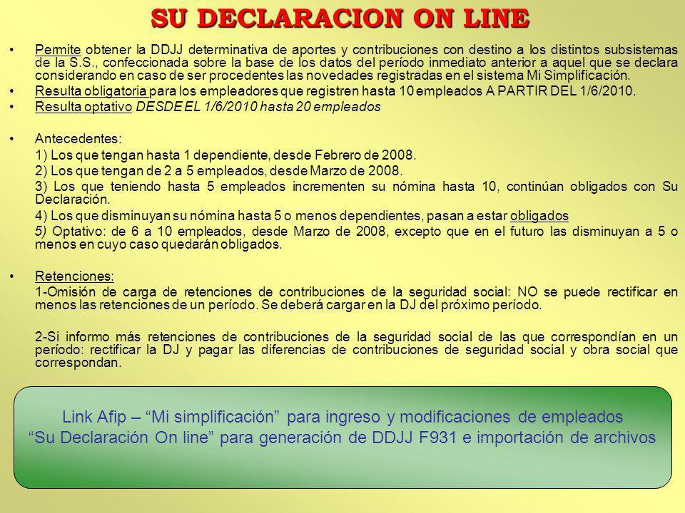 Permite obtener la DDJJ determinativa de aportes y contribuciones con destino a los distintos subsistemas de la S.S., confeccionada sobre la base de l