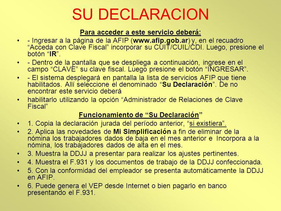 SU DECLARACION Para acceder a este servicio deberá: - Ingresar a la página de la AFIP (www.afip.gob.ar) y, en el recuadro Acceda con Clave Fiscal inco