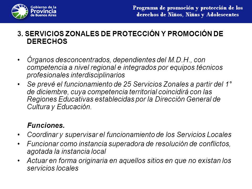 3. SERVICIOS ZONALES DE PROTECCIÓN Y PROMOCIÓN DE DERECHOS Órganos desconcentrados, dependientes del M.D.H., con competencia a nivel regional e integr