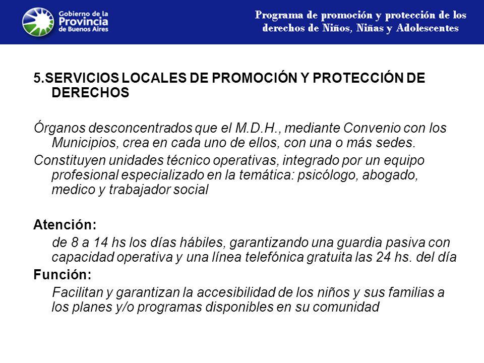 5.SERVICIOS LOCALES DE PROMOCIÓN Y PROTECCIÓN DE DERECHOS Órganos desconcentrados que el M.D.H., mediante Convenio con los Municipios, crea en cada uno de ellos, con una o más sedes.