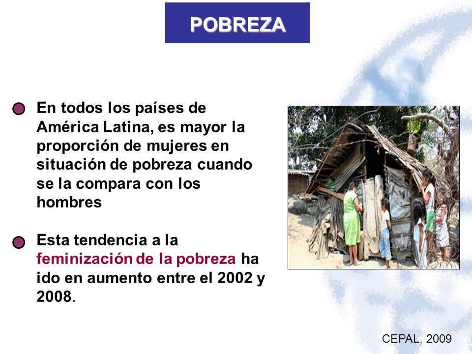 POBREZA En todos los países de América Latina, es mayor la proporción de mujeres en situación de pobreza cuando se la compara con los hombres Esta ten