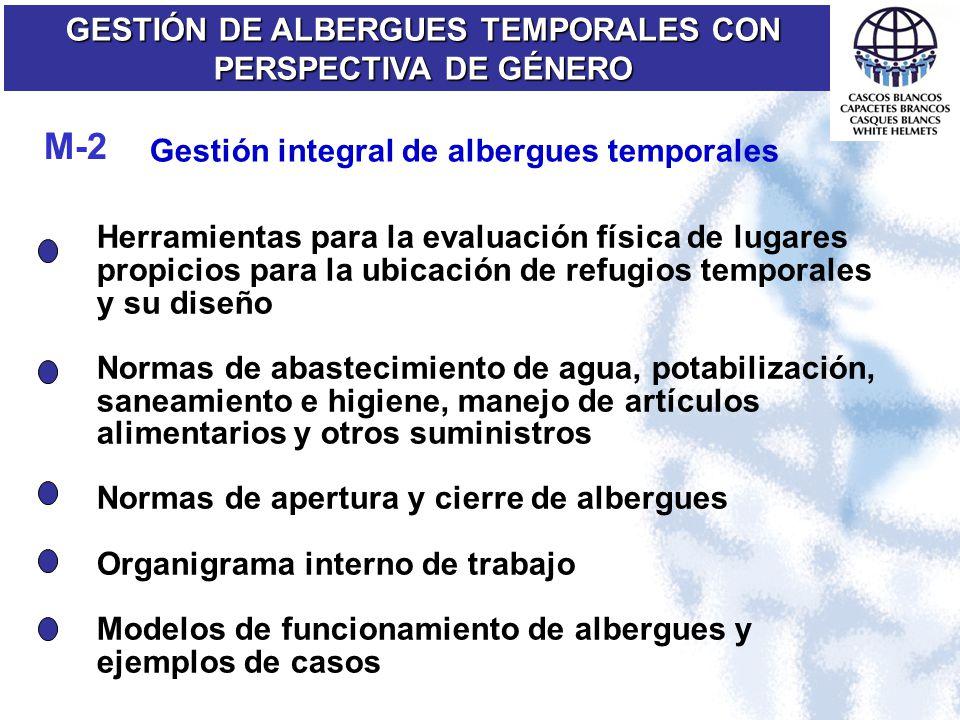Gestión integral de albergues temporales GESTIÓN DE ALBERGUES TEMPORALES CON PERSPECTIVA DE GÉNERO M-2 Herramientas para la evaluación física de lugar