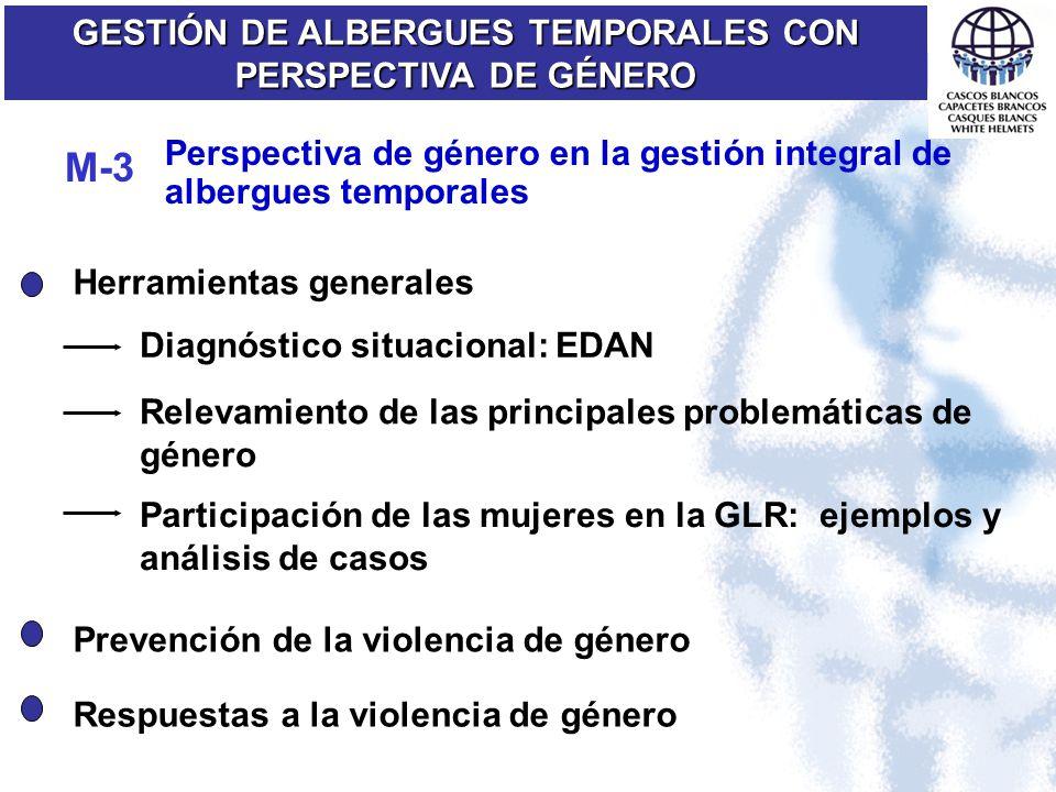 Perspectiva de género en la gestión integral de albergues temporales GESTIÓN DE ALBERGUES TEMPORALES CON PERSPECTIVA DE GÉNERO M-3 Diagnóstico situaci