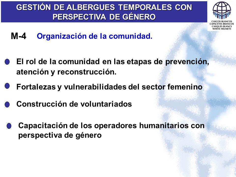 Organización de la comunidad. GESTIÓN DE ALBERGUES TEMPORALES CON PERSPECTIVA DE GÉNERO M-4 El rol de la comunidad en las etapas de prevención, atenci