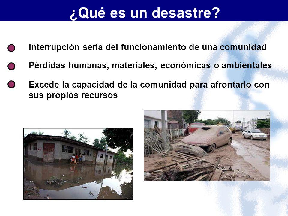 Interrupción seria del funcionamiento de una comunidad Pérdidas humanas, materiales, económicas o ambientales Excede la capacidad de la comunidad para