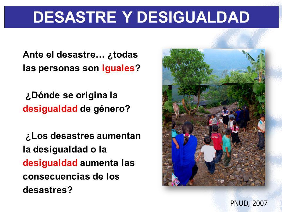 Ante el desastre… ¿todas las personas son iguales? ¿Dónde se origina la desigualdad de género? ¿Los desastres aumentan la desigualdad o la desigualdad
