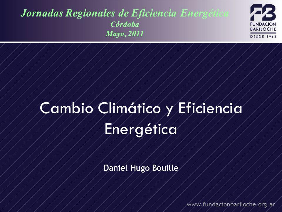 1 Cambio Climático y Eficiencia Energética Daniel Hugo Bouille www.fundacionbariloche.org.ar Jornadas Regionales de Eficiencia Energética Córdoba Mayo