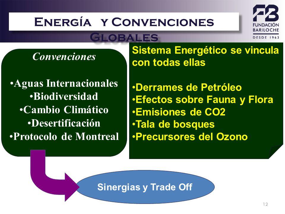 12 Convenciones Aguas Internacionales Biodiversidad Cambio Climático Desertificación Protocolo de Montreal Sinergias y Trade Off Sistema Energético se