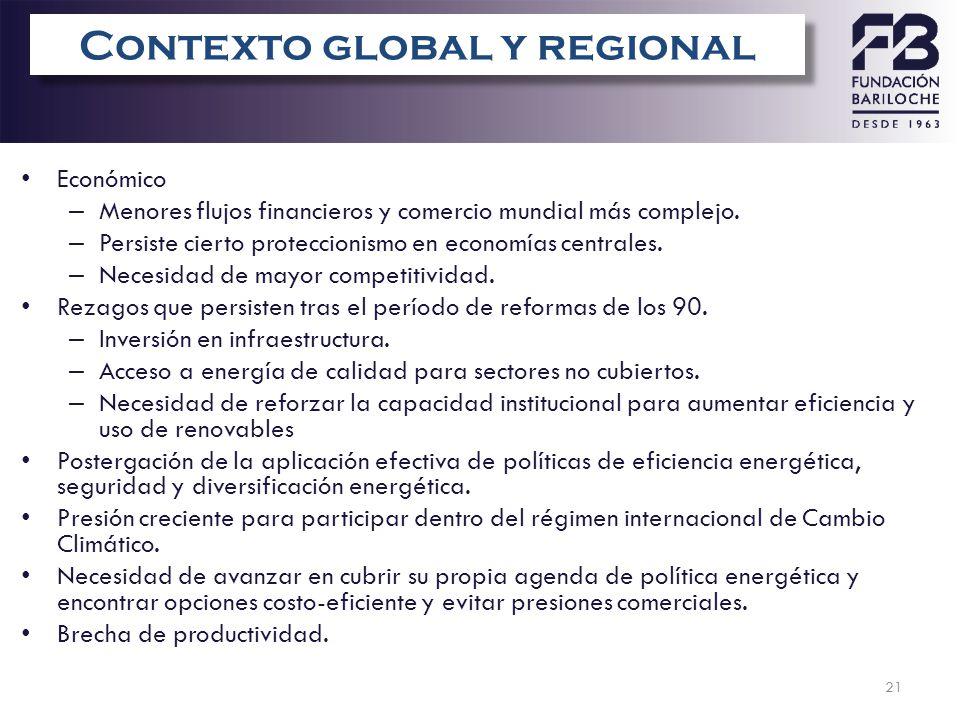 21 Vulnerabilidad de AL&C Económico – Menores flujos financieros y comercio mundial más complejo. – Persiste cierto proteccionismo en economías centra