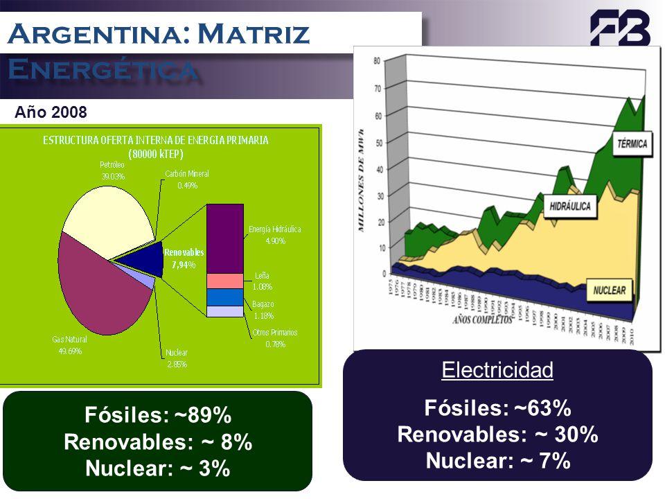 22 Argentina: Matriz Energética Año 2008 Electricidad Fósiles: ~63% Renovables: ~ 30% Nuclear: ~ 7% Fósiles: ~89% Renovables: ~ 8% Nuclear: ~ 3%