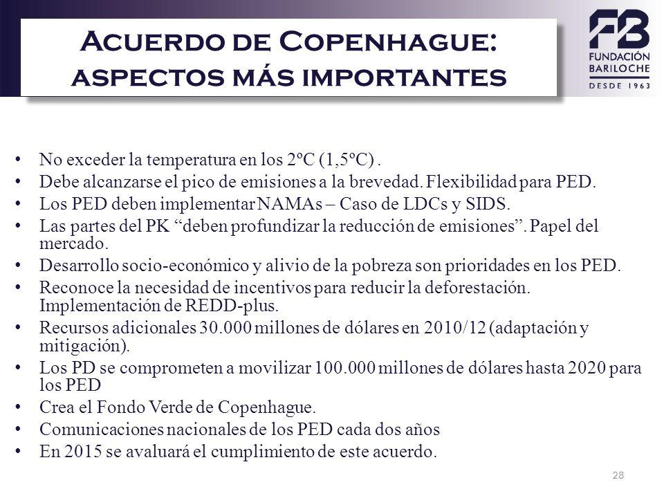 28 Acuerdo de Copenhague: aspectos más importantes No exceder la temperatura en los 2ºC (1,5ºC). Debe alcanzarse el pico de emisiones a la brevedad. F