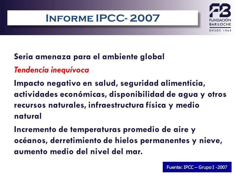 3 Seria amenaza para el ambiente global Tendencia inequívoca Impacto negativo en salud, seguridad alimenticia, actividades económicas, disponibilidad