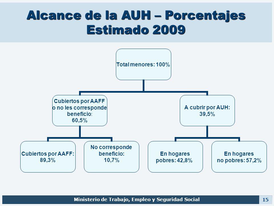Alcance de la AUH – Porcentajes Estimado 2009 Ministerio de Trabajo, Empleo y Seguridad Social 15 Total menores: 100% Cubiertos por AAFF o no les corr