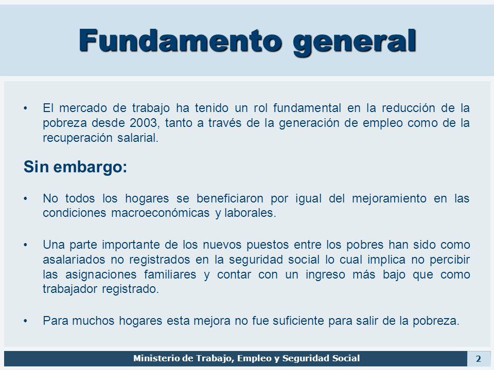 Fundamento general El mercado de trabajo ha tenido un rol fundamental en la reducción de la pobreza desde 2003, tanto a través de la generación de emp